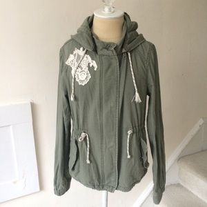Anthropologie DL Detachable Hood Military Jacket